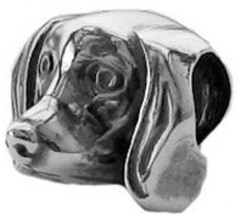 Zable Sterling Silver Dachshund Dog Face Bead Charm (9 X 11 Mm) - $102.82