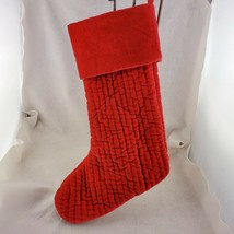 """Pottery World Christmas Stocking 19"""" Quilted Cotton Velvet Red No Monogram - $23.38"""
