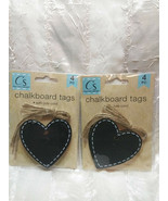 8 Chalkboard Tags Large Heart Shape With Ties - $9.89