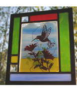 Stained Glass Window Panel Personalized Hummingbird blue red green - $65.00