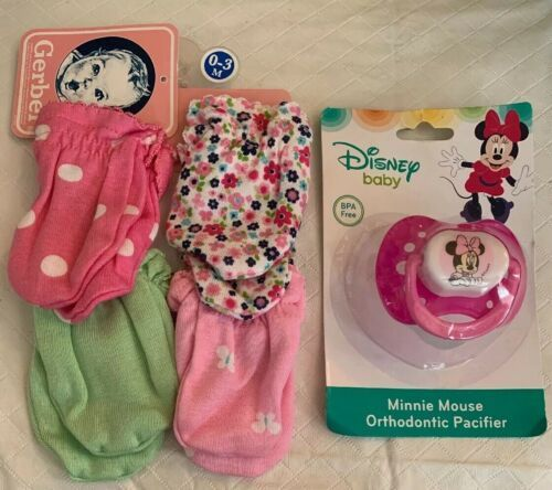 Primary image for Disney Baby Pink Minnie Mouse Pacifier & Gerber 4 Pack Girl Mittens 0-3M NWT