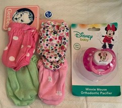 Disney Baby Pink Minnie Mouse Pacifier & Gerber 4 Pack Girl Mittens 0-3M... - $9.99