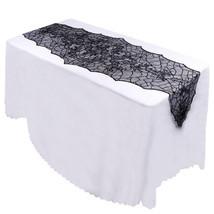 Halloween Party Decor Black Leaf Table Cover 188*55cm Tablecloth Soft La... - $8.99