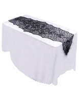 Halloween Party Decor Black Leaf Table Cover 188*55cm Tablecloth Soft La... - $8.99