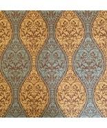 8.8  Yards Waverly Inspirations Brown Gold Green Damask Scroll Paisley Fabric - $123.99
