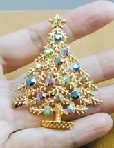 Weiss Christmas Tree Pin Aurora Borealis Rhinestones Colorful - $59.99