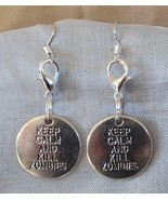Walking Dead Theme Zombie Tag Handcrafted Convertible Earrings Zipper Cl... - $9.99