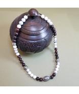 Tibetan bead necklace, Bronzite necklace, Howlite necklace, Filigree, Ha... - $32.00