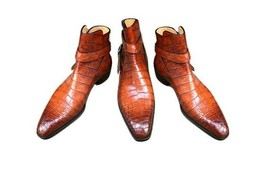Handmade Men's Crocodile Texture Brown Leather Boots image 3