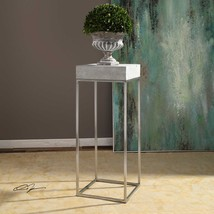 "NEW STAINLESS STEEL BASE 14"" ACCENT PEDESTAL DISPLAY TABLE THICK CONCRET... - $261.80"
