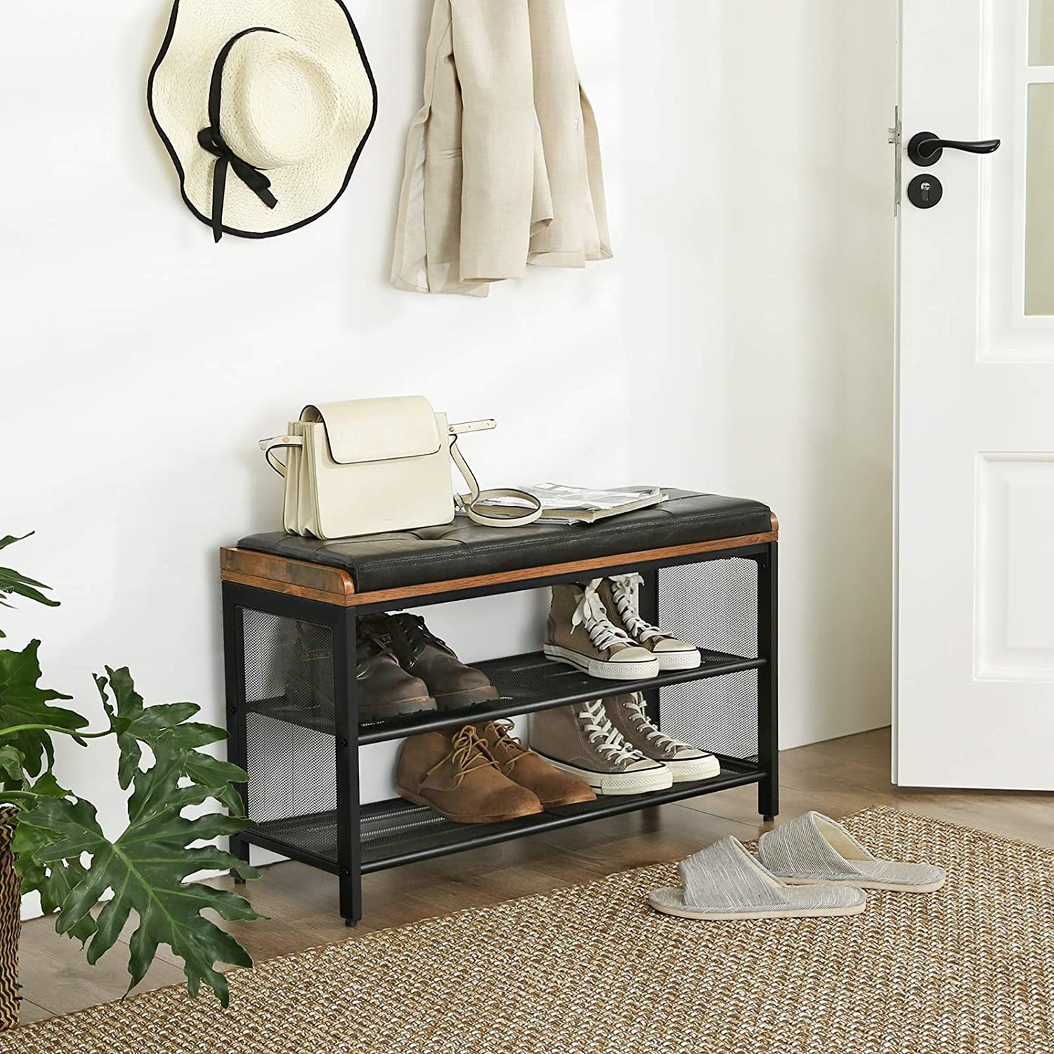 Primary image for Industrial Hallway Storage Chests, Shoe Bench, Padded Storage Shoe Rack, Metal F