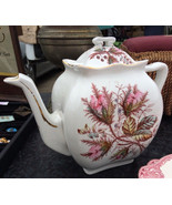 VTG George Jones & Sons Pink Thistle Moss Rose Teapot Porcelaines Opaque... - $34.95