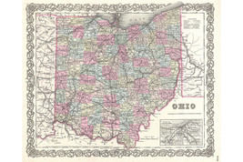 Ohio; 1855 Colton Map; Lovely First Quality Antique Reproduction - $26.72+