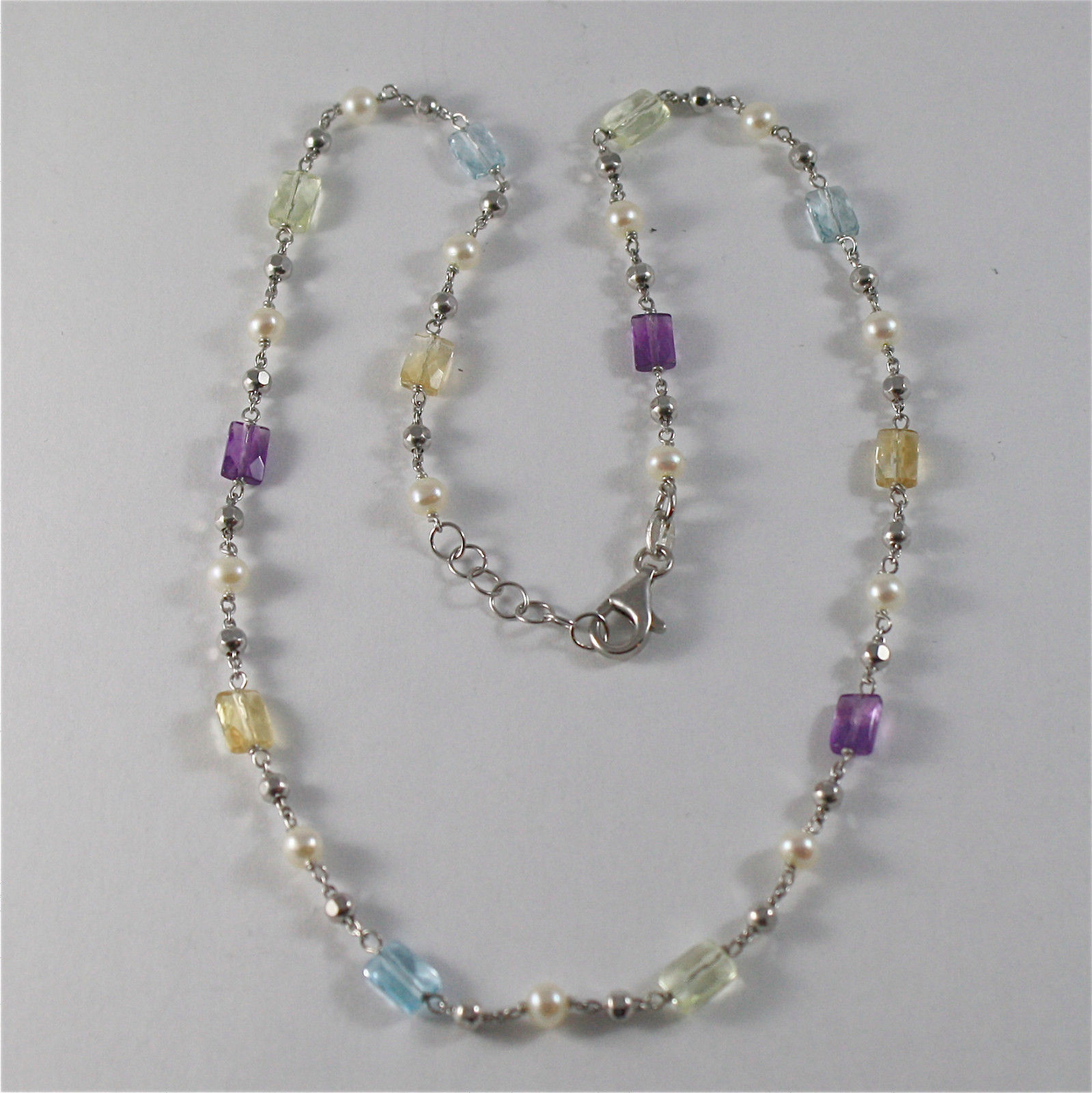 925 SILVER NECKLACE WITH WHITE FW PEARLS AND MULTIFACETED STONE AMETHYST, TOPAZ