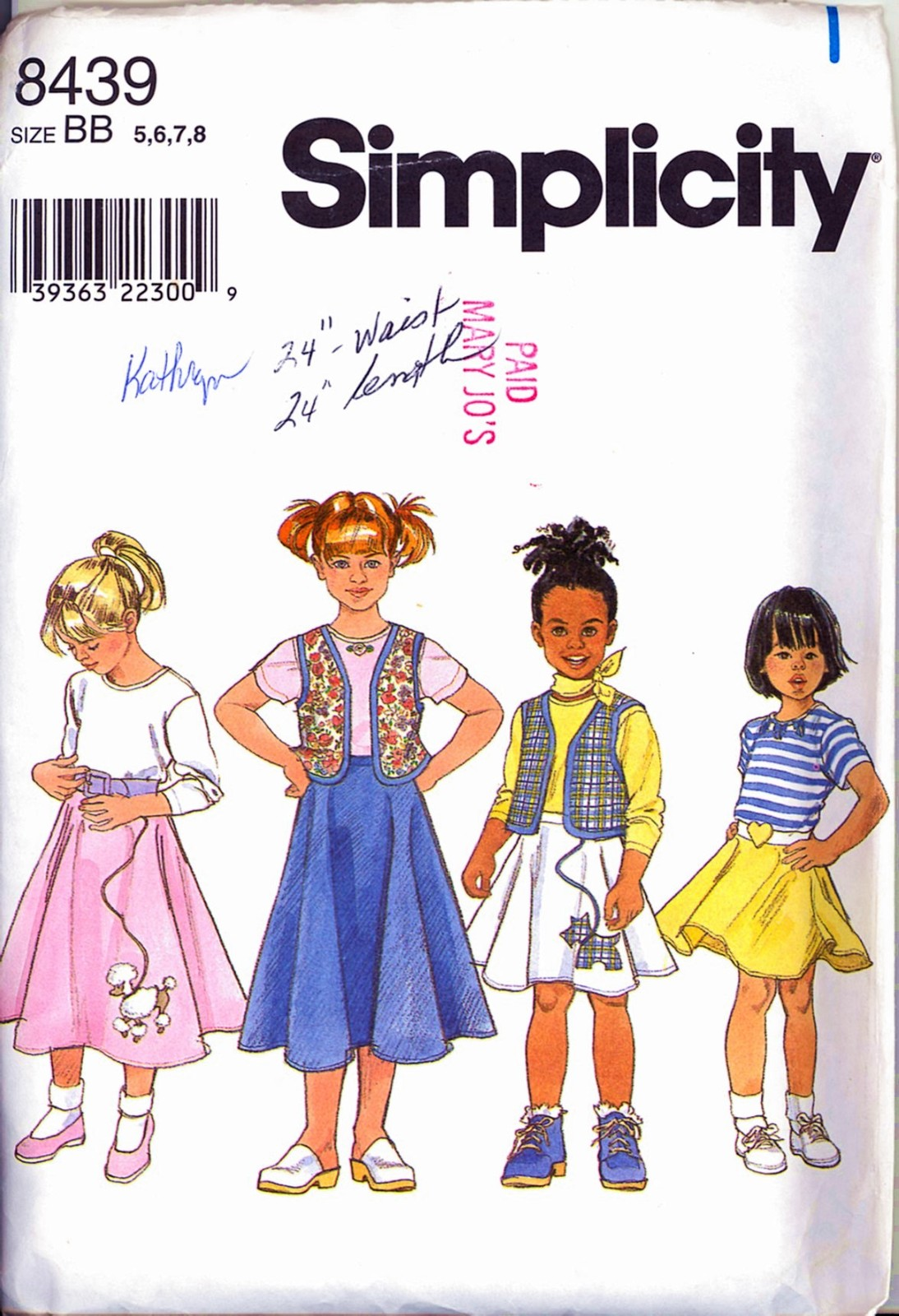 Primary image for 50s Style Size 5 6 7 8 Poodle Circle Skirt Vest Knit Top Simplicity 8439 Pattern