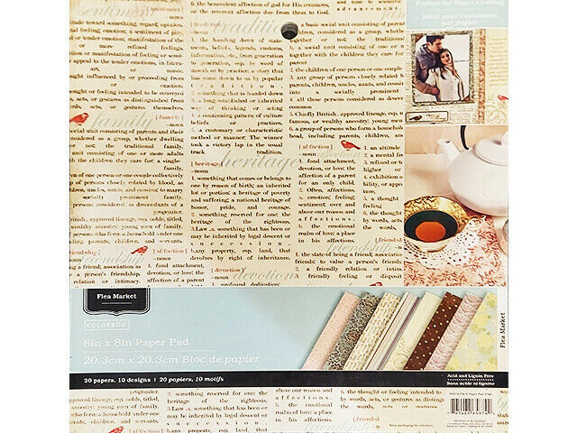 Colorbok Flea Market 8x8 Inch Paper Pad, 20 Sheets #65874