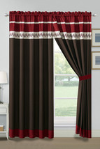 4-Pc Knoton Lines Stripe Embroidery Curtain Set Burgundy Beige Brown She... - $40.89