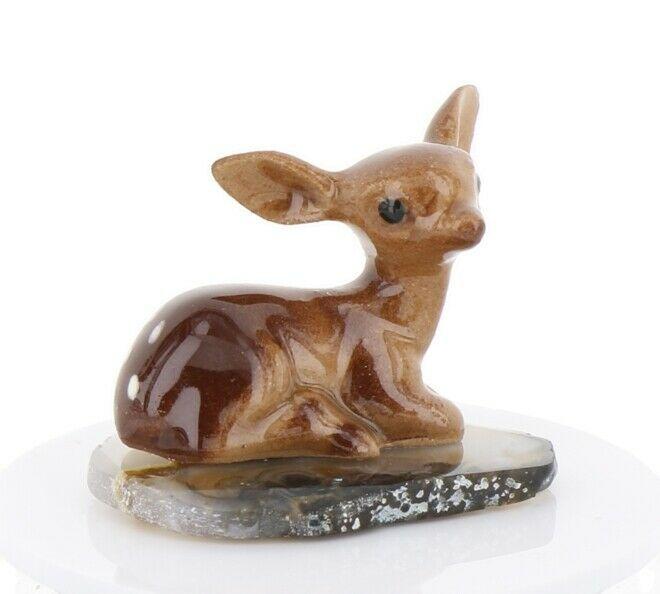 Hagen Renaker Miniature Tiny Deer Baby on Base Stepping Stones #2755