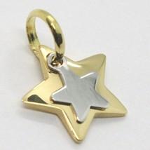 Gelb Gold Anhänger Weiß 750 18k, Doppel Stern Überlagert, Made in Italy image 1