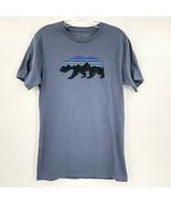 Patagonia Bear Logo Gray T Shirt Size Small Slim Fit Hiking Outdoor Trai... - $24.74