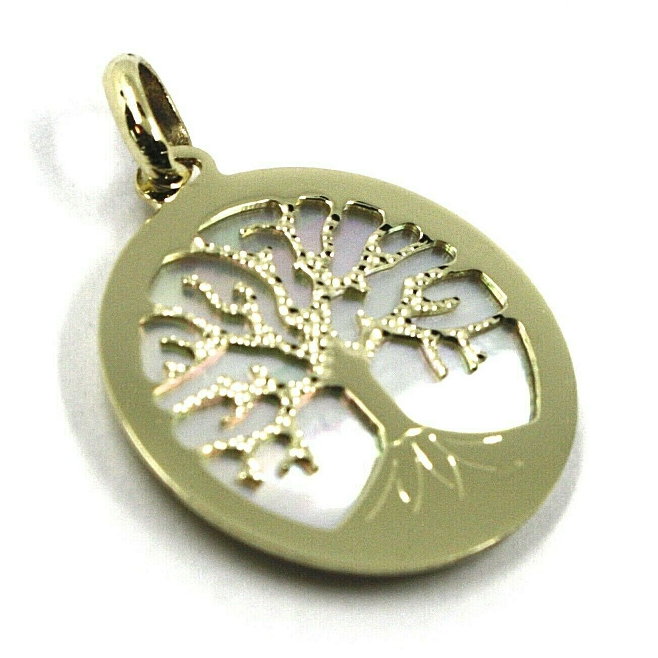 Primary image for 9K YELLOW GOLD PENDANT, TREE OF LIFE DISC, DIAMETER 17 MM, MOTHER OF PEARL