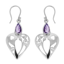 925 Sterling Silver Filigree Cut Designer Natural Amethyst Open Heart Ea... - $18.00