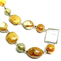 NECKLACE ORANGE WHITE ROUNDED DROP SPHERE, EXAGON MURANO GLASS SQUARE ITALY MADE image 2
