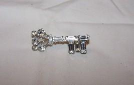 Vintage Signed B. David Rhinestone, Silvertone Key Brooch Pin - $9.50