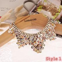 Hot sell Fashion women crystal multicolor flowers beads gold chain Ribbon Fake c - $20.00