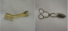 Claw Scissor Tongs Floral and Scroll Brass and Silver  - $39.60