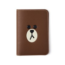 LINE FRIENDS Character BROWN Leatherlike Passport Wallet Cover Holder Case - €29,54 EUR