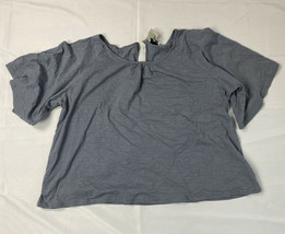 Luukse Women's 4X Gray Blouse Tie Neck Back NWT - $19.79