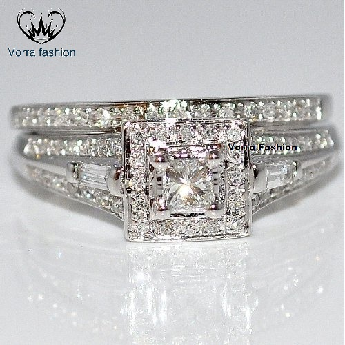 Primary image for 14k White Gold Plated 925 Silver Round Cut Sim Diamond Wedding Bridal Ring Set