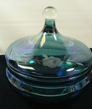 Iridescent Blue Ethched Floral Design Glass Compote Glass Candy Dish Lid... - $33.26