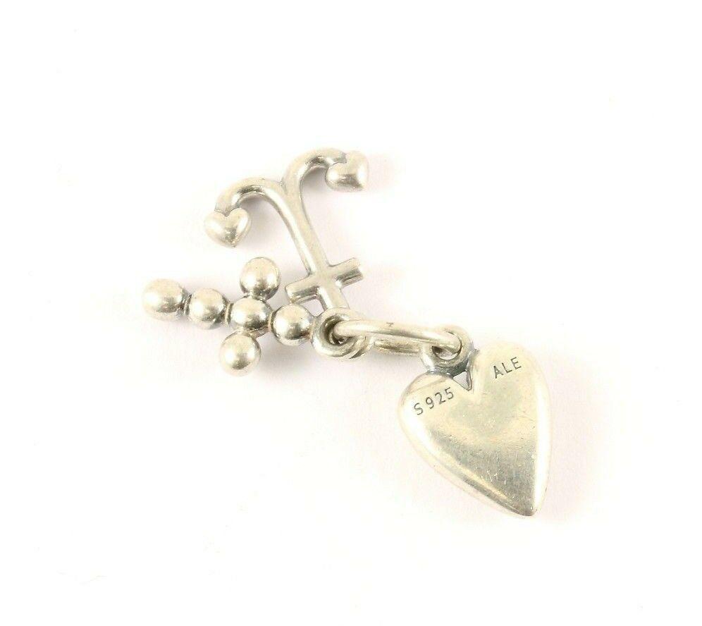 Vintage Authentic Pandora Heart Shape October Roze Cz Pendant Silver CH 314-E