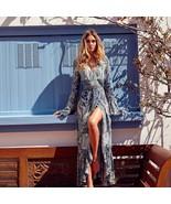 Boho Floral Print Chiffon Split Long Dress Women Beach Summer V Neck Kim... - $30.72