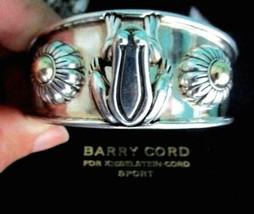 Barry Kieselstein Cord Frog & Flowers Cuff Bracelet Sterling & 14K Gold Orig Box image 2