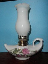 Jeanie Aladdin Porcelain Oil Wick Flower Design Lamp nice 7 inches tall - $24.70