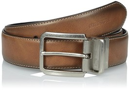 Tommy Hilfiger Men's Casual Reversible Belt, Tan/Black Stitch, 38