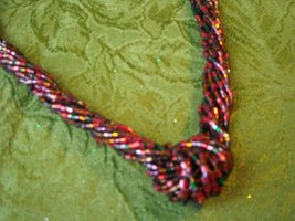 Vintage Necklace Red, Green, Orange Glass Tube Seed Bead Knot Multistrand Twist image 2