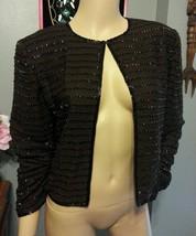 Blacktie Oleg Cassini Beaded Brown Gold Black Zig Zag Silk Dress Jacket S - $74.09