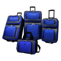 NEW! Travel Luggage Set Expandable 4 Piece Blue  - $143.20