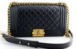 AUTHENTIC CHANEL PEARLY BLACK QUILTED LAMBSKIN MEDIUM BOY FLAP BAG GHW - $4,599.99