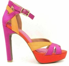 JS by Jessica Storsa Women Ankle Strap Pump Heels Size US 8B Purple Orange - $31.08