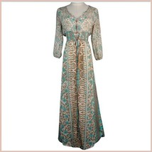 Bohemian Autumn Country Print Frock Long Sleeve Flowing Chiffon Maxi Dress image 5