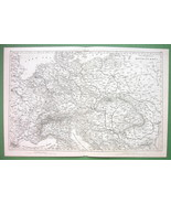 1844 MAP - Central Europe Czech Slovakia Hungary Poland Germany Railways - $20.21