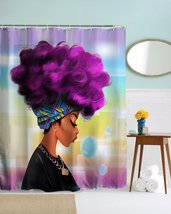 African Woman 04 Shower Curtain Waterproof Polyester Fabric For Bathroom - $33.30+