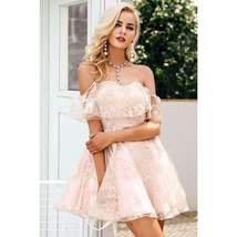 Pink Floral Mesh Pleated Women Mini Dress - $33.98