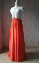 Plus Size Maxi Chiffon Skirt A-Line Chiffon Wedding Skirt Orange image 5