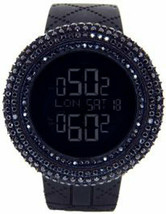 KING MASTER 25.00ct Lab Made Diamond Watch All Blacked Out Case Mens Dig... - $197.99